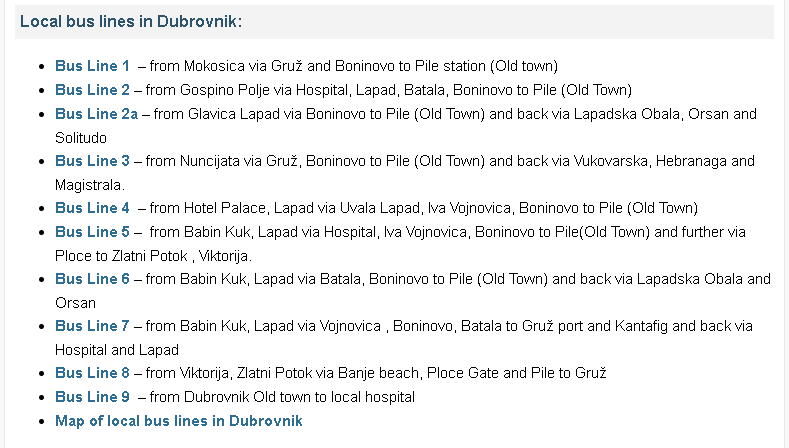 Bus Routes, Dubrovnik