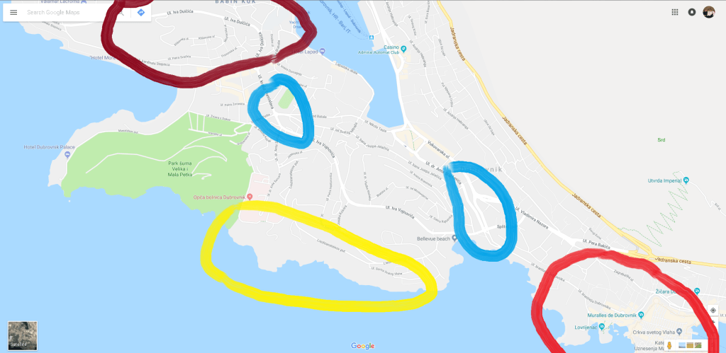 Map of Dubrovnik with areas Highlighted