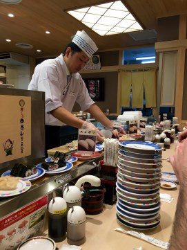 One of our favorite meals was our second-to-last night at the sushi train in the Kyoto Station. In case you're wondering, yes, all those stacked plates are ours, and no, I didn't eat any raw sushi ;)