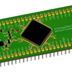 Render of the ATxmega384C3 breakout