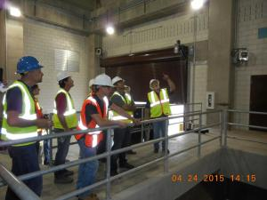 YPs listening to Mr. Mark Reed (Trinity Watershed Management) explaining the construction of the Pump Station.