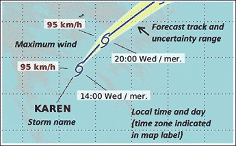 An example showing a Hurricane icon with three parameters; maximum wind 120 Kilometers per hour; local time and day 15:00 Thu/jeu; and the storm name Andrea.