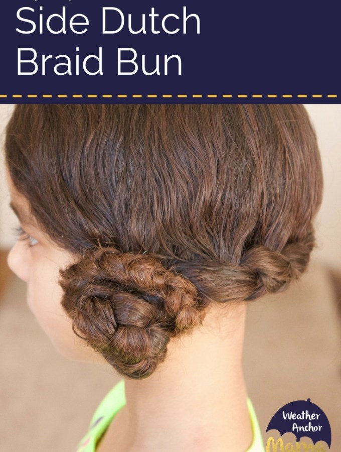 Side Dutch Braid Bun biracial hair care mixed hair biracial kids how to style curly hair