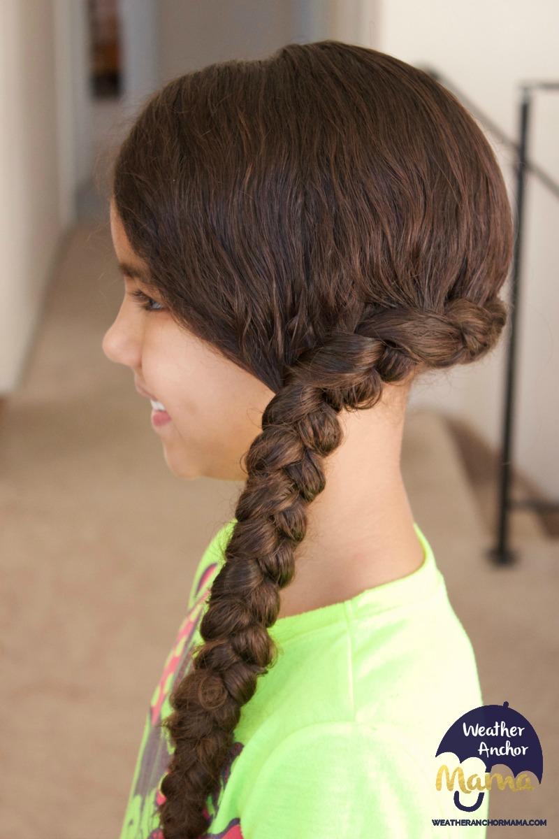side dutch braid bun curly biracial hair mixed hair care