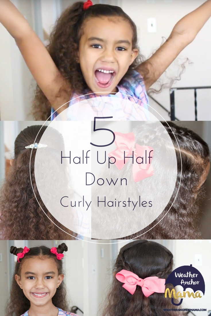 5 easy half up half down curly hairstyles | weather anchor mama