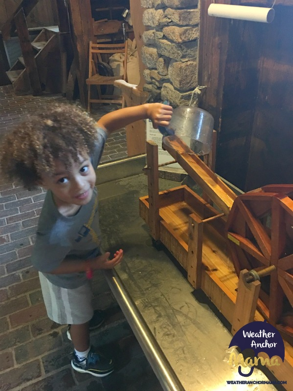 Family Vacation Plimoth Grist Mill Plymouth Massachusetts how to process corn