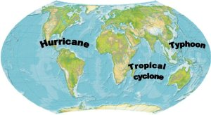 A map of the world naming the areas of the different types of cyclones