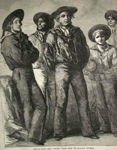 Sailors from 19th century standing on a ship