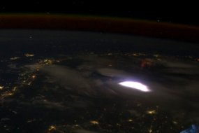 Satelite image of red sprites from ISS