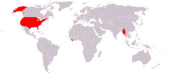 A map of the world showing who uses metric (gray) and who uses Imperial (red)