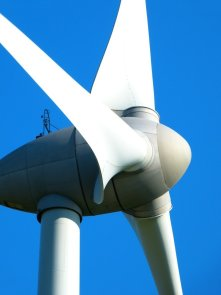 Up close picture of a wind turbine