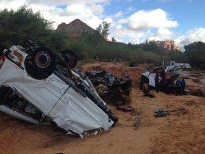 car destroyed by flash flood