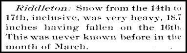March 16-17, 1892 Riddleton TN Snow