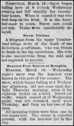 March 17, 1892 TN Snow