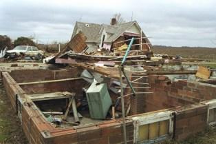 A house off its foundation near Hanska, MN.