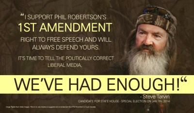 State Representative Steve Tarvin Duck Dynasty direct mail piece