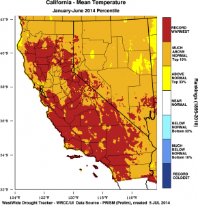 California's record-warmest year continued into June 2014. (NOAA/DRI)