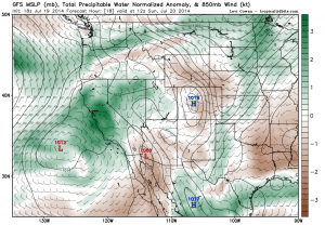 The GFS shows large precipitable water anomalies over California this weekend. (NCEP via Levi Cowan)