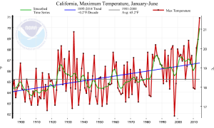 Daily maximum temperatures in 2014 have been higher than any other year on record. (NOAA/NCDC)