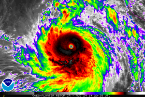 Hurricane Marie at peak intensity as a spectacular category five storm. (NOAA/NHC)