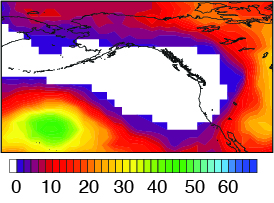 The white region on this map plot depicts the areas where 500mb geopotential heights during 2013 were higher than any previous value since at least 1948. (Swain et al. 2014)