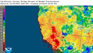 Precipitation for the past 3 months (including yesterday's rainfall) has been below average for almost all of California except for the North Coast region. (NOAA/NWS)