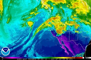 Infrared satellite imagery depicts a developing storm system off the coast of California (NOAA/SSD)