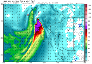 NAM depiction of very strong 850mb winds over Northern California early Thursday. (NCEP via Levi Cowan)