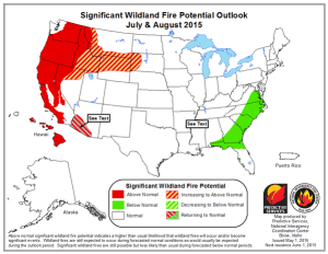 CALFIRE and the US Forest Service are anticipating the potential for a particularly severe fire season over much of California and the West Coast. (NIFC)