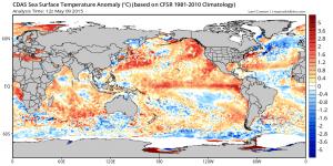 A canonical East Pacific  El Niño signature has rapidly emerged in recent weeks. (Levi Cowan via tropicaltidbits.com)