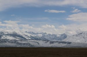 A fresh blanket of snow covers the Eastern Sierra on 5/8/2015. Photo by Bartshé Miller.