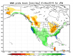 The newly-released November international model (which includes ECMWF) ensemble depicts very wet conditions over California during January-March. (CPC)