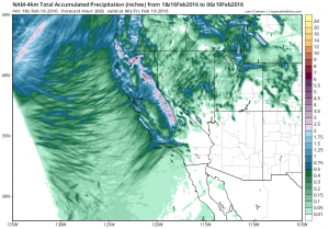 High-resolution NAM forecast is depicting widespread precipitation associated with the Wednesday system. (NCEP via tropicltidbits.com)