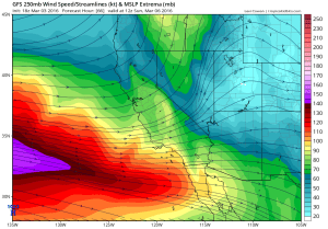 The jet stream will be in a favorable position for active weather across California this weekend. (NCEP via tropicaltidbits.com)