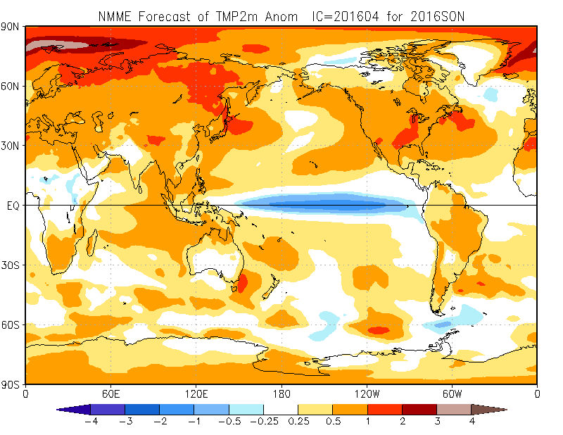 The NMME shows extraordinary Northern Hemisphere warmth persisting despite development of La Nina conditions in tropical Pacific. (NOAA/CPC)