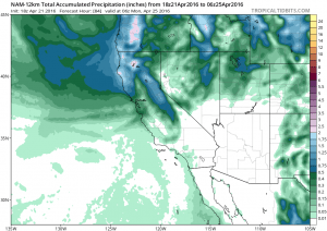 The NAM suggests some substantial precipitation accumulations north of San Francisco but virtually nothing in SoCal over the next few days. (NCEP via tropicaltidbits.com)