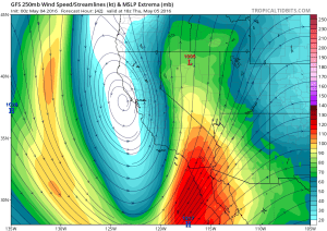 California will be in a favorable position for convective activity and thunderstorms, especially on Thursday/Friday as the low moves overhead. (NCEP via tropicaltidbits.com)