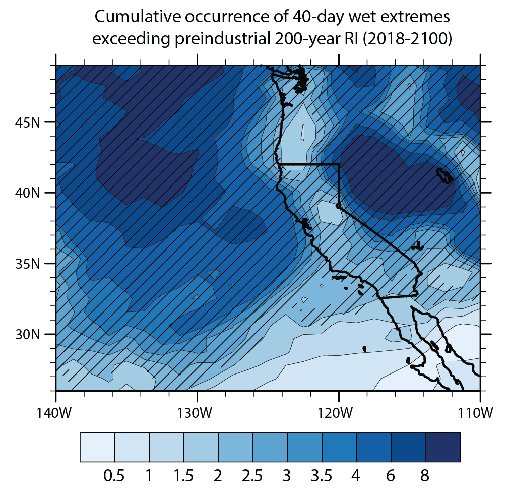 """c56bb7595318f Cumulative number of 1862 """"Great Flood""""-like extreme 40-day precipitation  accumulations between 2018 and 2100. (Swain et al. 2018)"""