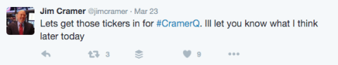jim cramer promoting questions on twitter he will answer on thestreet.com