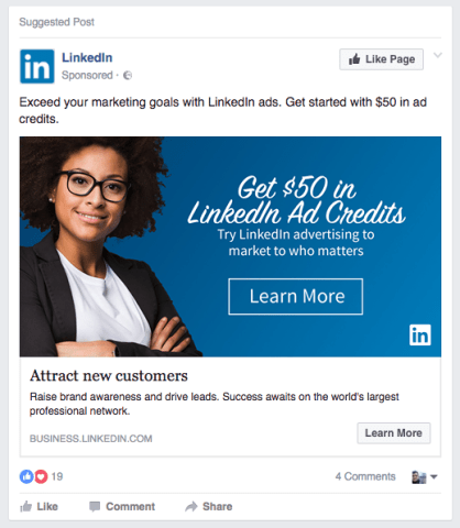 linkedin facebook ad example for google search ad change
