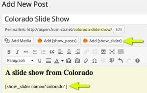Add Slider shortcode to Post