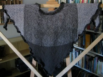 Shawl with completed ruffle