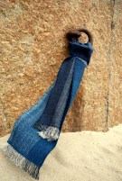 Indigo scarf on iron ring at Porthcurno