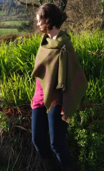 Spring green shawl modelled snap