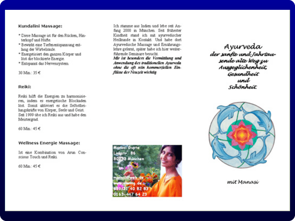 Ayurveda Mandala flyer folding into one third of a A4 page with...