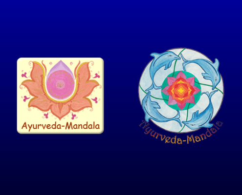 Actual and previous Ayurveda Mandala logo;
