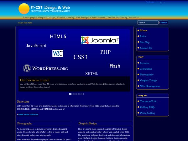 IT-CST 2.5 Home page with dynamic three state navigation and slide-show;