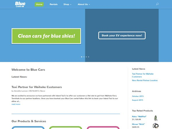 Blue Cars new Home page