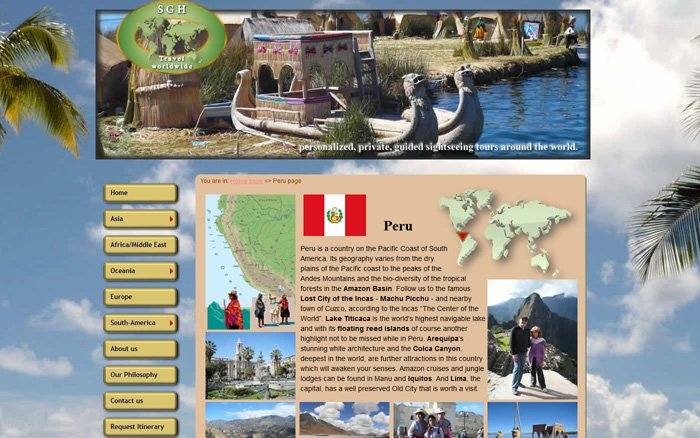 SGH Travel Peru page is a sub-page of South American travel targets;