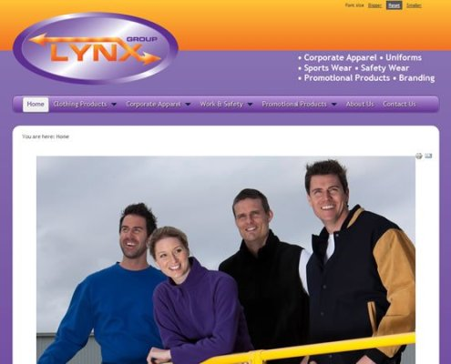 Lynx Group Home page with logo, top and left side menu, dynamic three state navigation;